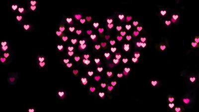 Pink hearts, Black background, Bokeh, Glowing lights, Vibrant, Blurred, Heart shape, Valentine's Day, Love heart, 5K