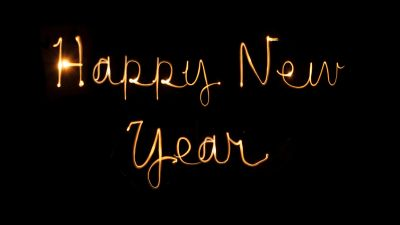 Happy New Year, Black background, New Year's Eve, Greetings, Holidays, January, Golden letters, Hand Written, Sparklers, 5K, 8K
