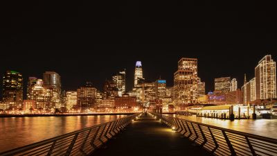 San Francisco City, Cityscape, Black background, Night time, City lights, Skyscrapers, Waterfront, Pier