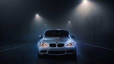 BMW M3, White cars, Dark background, Night time, Street lights, Foggy night, Automobile, 5K