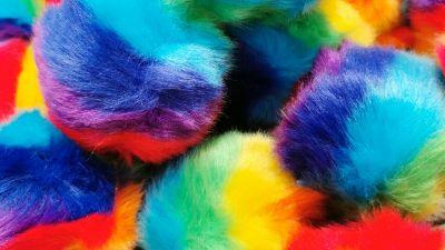 Faux Fur Pom Pom Balls, Multicolor, Colorful, Macro, Closeup, Vibrant, Crafts