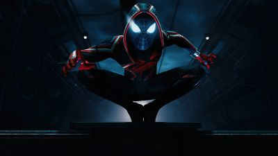 Marvel's Spider-Man: Miles Morales, Photo mode, Dark background, PlayStation 5, 2020 Games, 5K