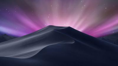macOS Mojave, OS X Leopard, Aurora sky, Desert, Stock, Aesthetic