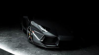 Lamborghini Aventador, Grey, Dark background, CGI