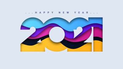 2021 New Year, Happy New Year, Colorful, White background, 5K