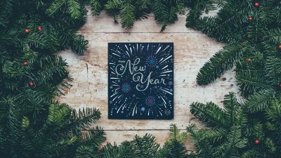 Happy New Year, Christmas decoration, Christmas tree, Branches, Wooden background