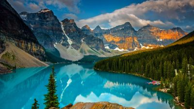 Moraine Lake, Banff National Park, Mountains, Valley, Forest, Alberta, Canada