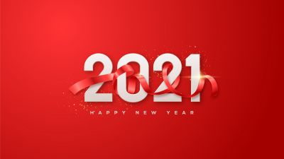 2021 New Year, Happy New Year, Red background, Ribbon, 5K