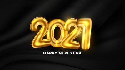 2021 New Year, Happy New Year, Golden letters, Dark background