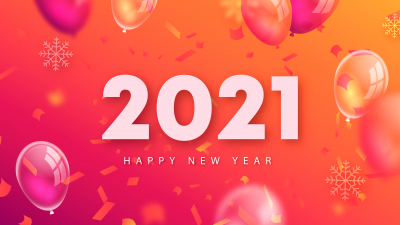 2021 New Year, Happy New Year, Balloons, Colorful background, Gradient background