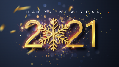2021 New Year, Happy New Year, Golden letters, Sparkles