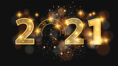 2021 New Year, Happy New Year, Golden letters, Dark background, Sparkles