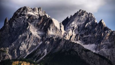 Dolomites, Mountain range, Italy, Snow covered, Glacier, Mountain View, Green Trees, Day time, Landscape
