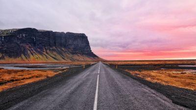 Open Road, Cliff, Horizon, Landscape, Plateau, Iceland, Calm, Hill, Pink sky, 5K