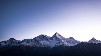 Poon Hill, Nepal, Himalayas, Hill Station, Snow covered, Mountain range, Glacier, Peaks, Mountain View, 5K