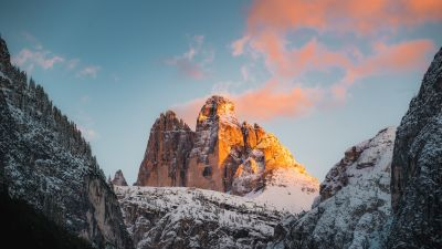 Tre Cime di Lavaredo, Italy, Mountain range, Rock formations, Snow covered, Glacier, Landscape, Mountain View, Peaks, Alps, Golden hour, Sunset, Scenery, 5K, 8K