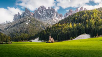 Church Of St Johann, Villnoss, Italy, Alps, Dolomites, Mountain range, Snow Covered, Landscape, Scenery, Cathedral, Glacier mountains, Green Grass, Trees, Clouds, Famous Place, Tourist attraction, 5K, 8K