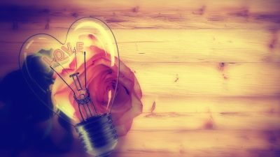 Light bulb, Heart shape, Rose flower, Wooden background, Valentine's Day, Love text, Creative, 5K, 8K