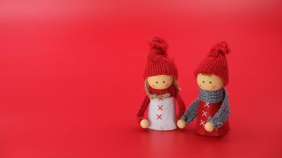 Figures, Man, Woman, Christmas decoration, Red background, Closeup, Art and Crafts, Beautiful, Doll, 5K