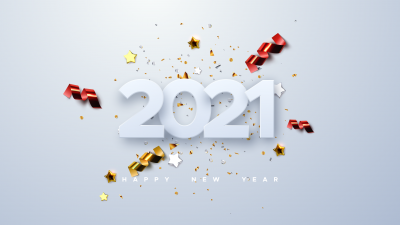 2021 New Year, Ribbons, Party confetti, White background, Sparkling, Happy New Year, 5K