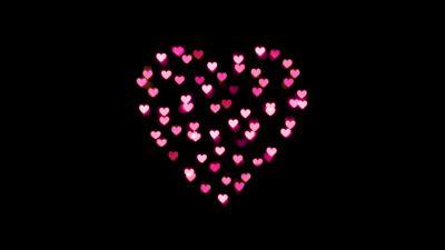 Love heart, Pink hearts, Lights, Night, Black background, 5K