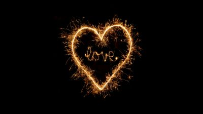 Love heart, Sparkles, Night, Black background, Letters, 5K
