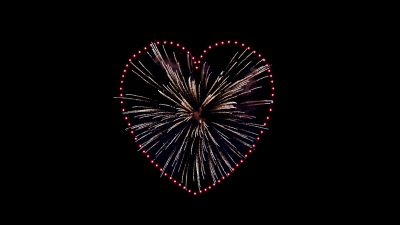 Love heart, Fireworks, Sparkles, Celebrations, Night, Black background, 5K, 8K
