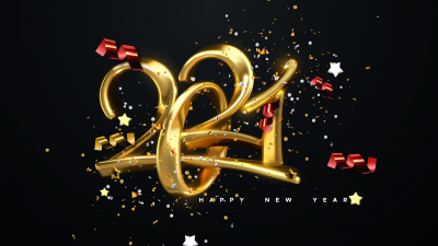 2021 New Year, Golden letters, Calligraphic, Ribbons, Happy New Year, Party confetti, Dark background, 5K