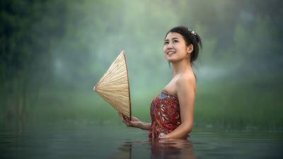 Asian Girl, Teen, Lake, Pond, Bath time, Portrait, Smiling, Thailand, 5K, 8K