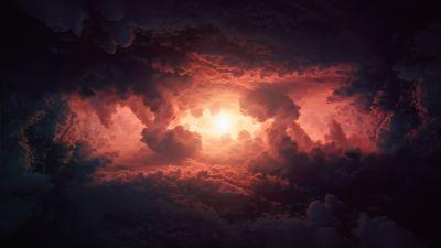 Cumulus clouds, Storm, Dark clouds, Sun light, Extreme Weather, Cloudy Sky