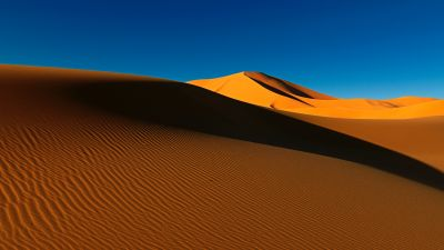 Sahara Desert, Sand Dunes, Algeria, Soil, Daytime, Blue Sky, Clear sky, Scenery, Landscape