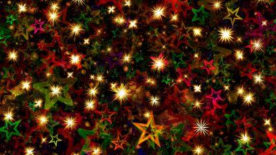 Christmas Stars, Christmas decoration, Advent, Glowing lights, Colorful, Aesthetic, 5K, 8K