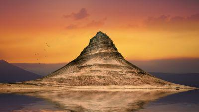 Mountain View, Sunset, Orange sky, Lake, Body of Water, Reflection, Flying birds, Landscape, Scenery, 5K, 8K