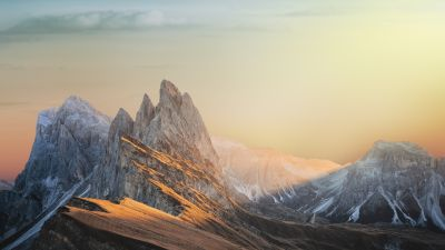 Glacier mountains, Snow covered, Landscape, Mountain Peaks, Sunset, Scenery, Clouds, 5K, 8K