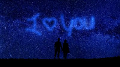 I Love You, Starry sky, Couple, Silhouette, Heart shape, Valentines Day, Relationship, Together, Outer space, Night sky, 5K