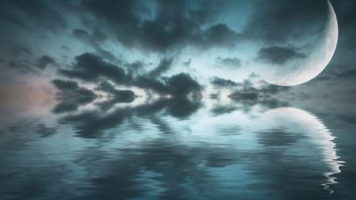 Ocean, Crescent Moon, Sea, Body of Water, Reflection, Dark clouds, Night sky, Scenery, 5K, 8K