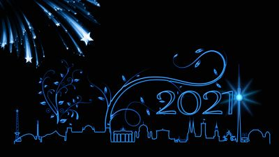 2021 New Year, New Year's Eve, Berlin, Happy New Year, Black background, New Year celebrations, Illustration, 5K