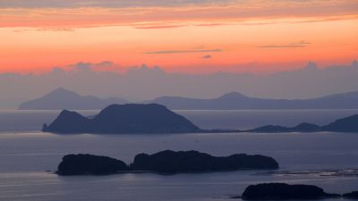 99 Islands, Kujūku Islands, Nagasaki Prefecture, Sasebo, Japan, Orange sky, Sunset, Landscape, Evening, Clouds, Travel, Tourist attraction
