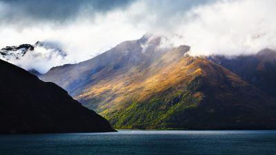 Lake Wakatipu, New Zealand, Body of Water, Mountains, Landscape, Foggy, Snow, Scenery