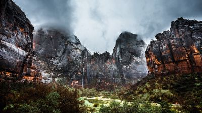 Zion National Park, Waterfall, Cliffs, Stormy, Cloudy Sky, Valley, Landscape, Rock formations, 5K