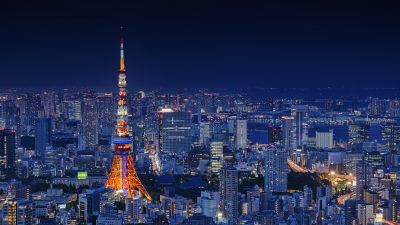 Tokyo Tower, Japan, Metal structure, Cityscape, City lights, Night time, Landmark, Skyscrapers, Dark blue