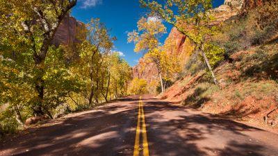Open Road, Autumn trees, Landscape, Blue Sky, Cliffs