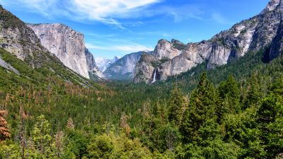 Yosemite National Park, Mountains, California, Blue Sky, Valley, Landscape, Green Trees, Scenery
