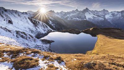 Heart lake, Sun rays, Mountain range, Glacier mountains, Snow covered, Sunrise, Clear sky, Landscape, Scenic, 5K