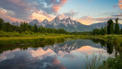 Grand Teton National Park, USA, Glacier mountains, Snow covered, Landscape, Mirror Lake, Reflection, Scenery, Green Trees