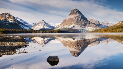 Glacier Mountains, Mirror Lake, Body of Water, Mountain range, Reflection, Snow covered, Winter, Landscape, Scenery, 5K