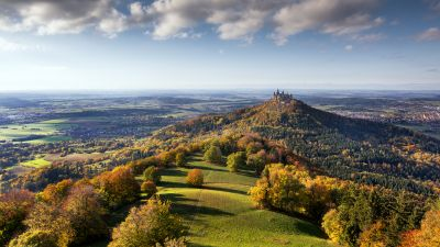 Castle, Landscape, Green Meadow, Autumn trees, Scenery, Cloudy Sky, Aerial view, Horizon, Village