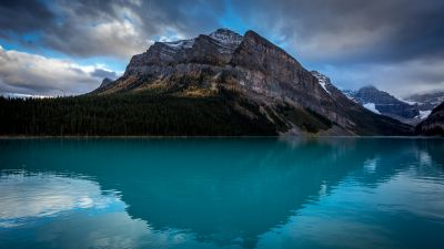 Blue lake, Landscape, Scenery, Body of Water, Mountain Peak, Reflection, Green Trees, Snow covered, Cloudy Sky