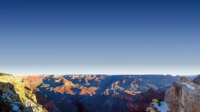 Mather Point, Grand Canyon National Park, Arizona, Rock formations, View Point, Travel, Tourist attraction, Famous Place, Landscape, Clear sky, Shadow
