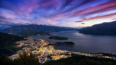 Bob's Peak, Ben Lomond, New Zealand, Queenstown, Lake Wakatipu, Sunset, Landscape, Mountain range, City lights